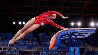 MyKayla Skinner performs a Cheng on vault during the qualification round of the women's artistic gymnastics competition in Tokyo