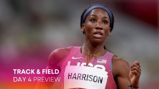 Kendra Harrison of Team United States reacts after competing in the Women's 100m Hurdles Semi-Final on day nine of the Tokyo 2020 Olympic Games