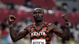 Kenya's Ferguson Cheruiyot Rotich celebrates after winning in the men's 800m semi-finals during the Tokyo 2020 Olympic Games