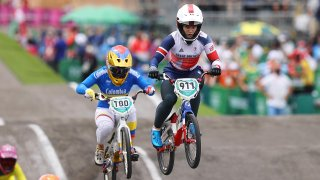 Mariana Pajon of Team Colombia and Bethany Shriever of Team Great Britain as they jump during the Women's BMX final on day seven of the Tokyo 2020 Olympic Games