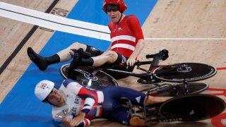 Track cycling crash