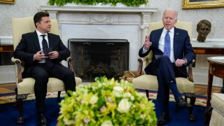 President Joe Biden meets with Ukrainian President Volodymyr Zelenskyy in the Oval Office of the White House, Wednesday, Sept. 1, 2021, in Washington.