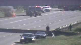 A vehicle is on fire on Interstate 91 in Cromwell.