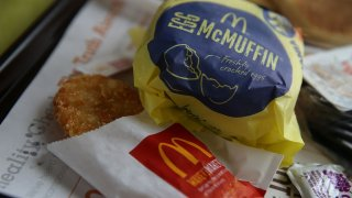 a McDonald's Egg McMuffin and hash browns