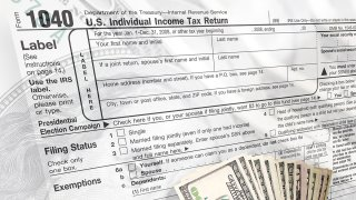 IRS tax form and money