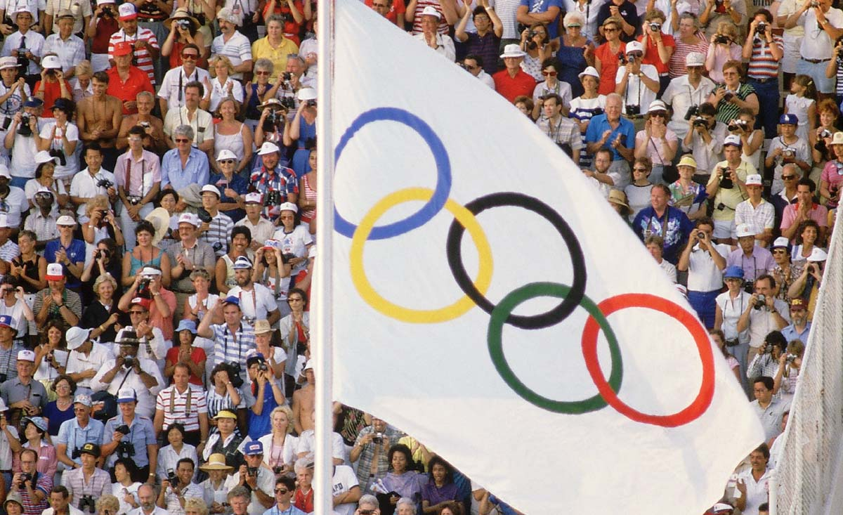 Aug 1984:  The Olympic Flag during the Olympic Games at the Memorial Coliseum stadium in Los Angeles.