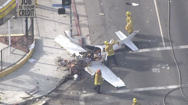 An experimental plane crashed in an intersection near the Van Nuys Airport on Friday, Jan. 9, 2015.