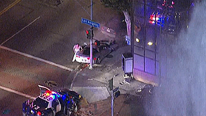 The driver of a Chevrolet Corvette, identified as Brian Beaird, 51, of Oceanside, can be seen moments before he's shot by LAPD officers after a violent pursuit on Friday, Dec. 13, 2013.