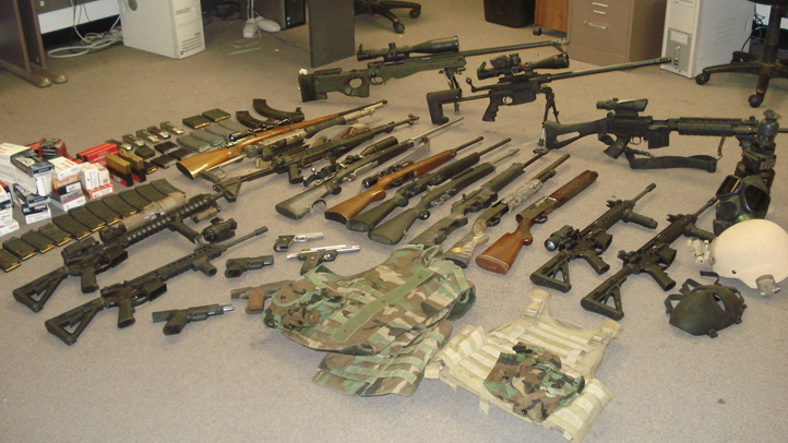 This cache of weapons was seized from a pot farm near the Northern California city of Clear Lake as seen in this photo released Friday, July 26, 2013.