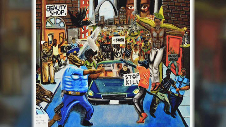 Artwork depicting police as pigs and displayed at the US Capitol has sparked controversy.