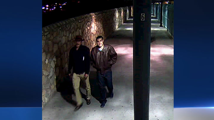 Surveillance video showed Victor Solis walking across the border into Mexico with his son, ex-LAPD officer Henry Solis, who is wanted for murder. This photo was released by the FBI on March 26, 2015.