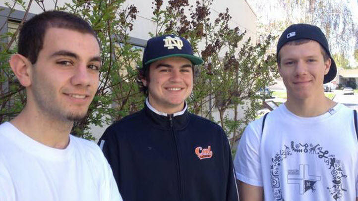 (From left) Garen Kissoyan, Peter Kravariotis and Kirill Yantikov, all of San Ramon, rescued a 94-year-old woman from a burning home.