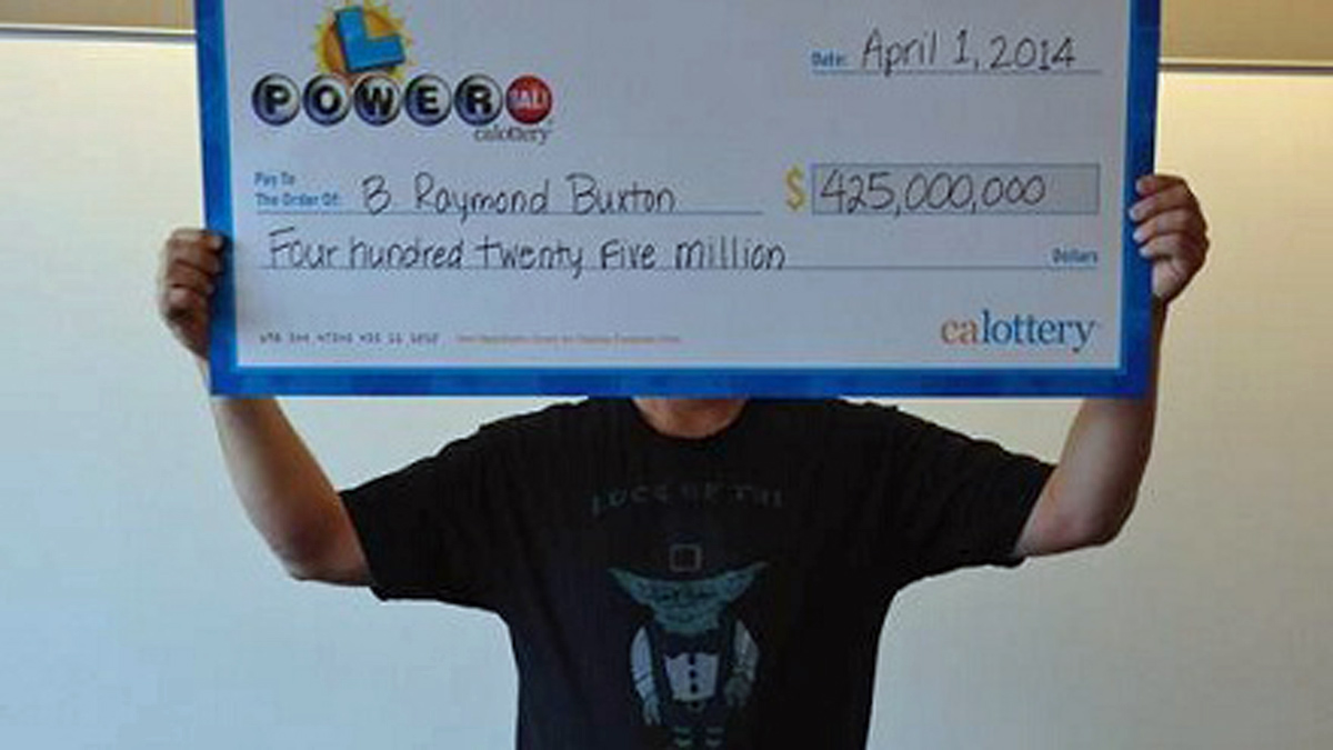 This photo of Powerball winner B. Raymond Buxton courtesy of California Lottery shows Buxton…but not his face.