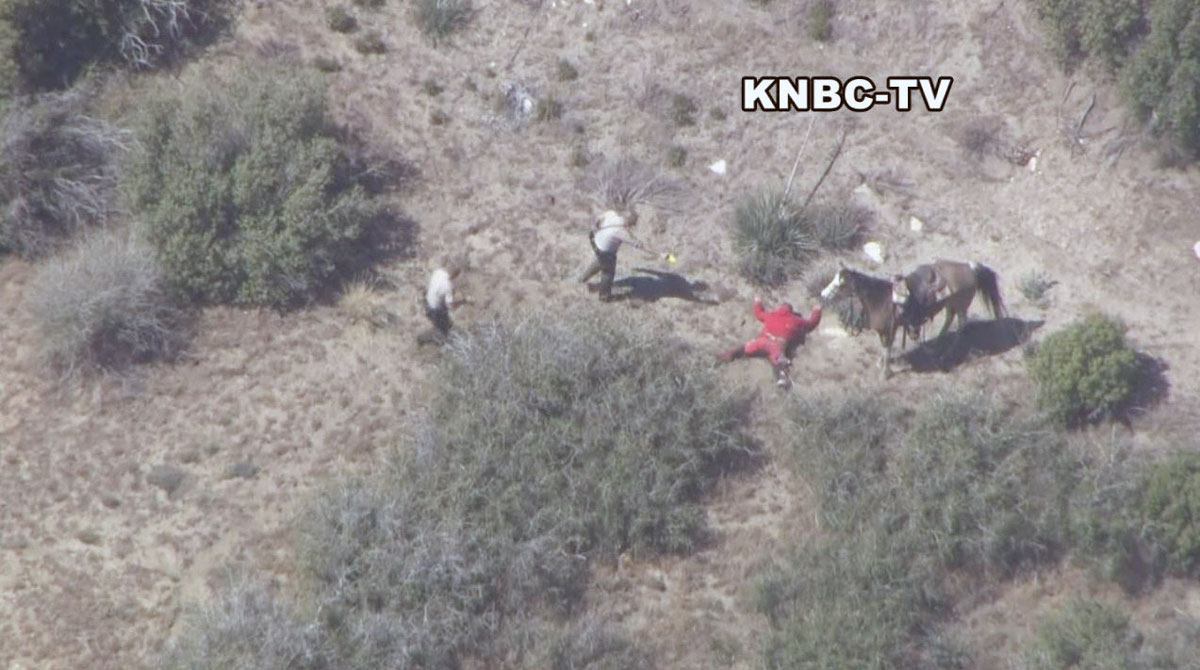 A man accused of stealing a horse and leading San Bernardino County deputies on a pursuit in the high desert northeast of Los Angeles is arrested Thursday April 9, 2015.