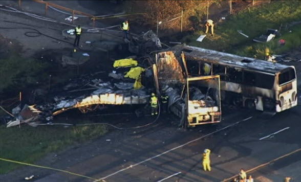 At least nine people were killed when a tour bus carrying Los Angeles-area high school students crashed in Northern California.