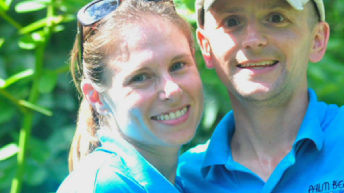 Stacey Konwiser (left, pictured with her husband) was killed Friday by a 13-year-old male tiger at the Palm Beach Zoo.