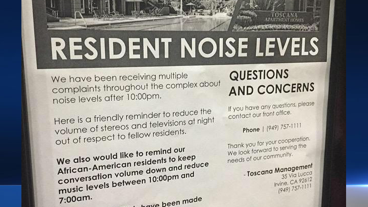 A flier distributed at an Irvine apartment complex that specifically asked African-Americans residents to speak quietly and lower music volume has sparked controversy.