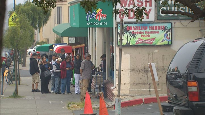 Customers line up to get inside Fil-Am BBQ in Daly City. (May 1, 2015)