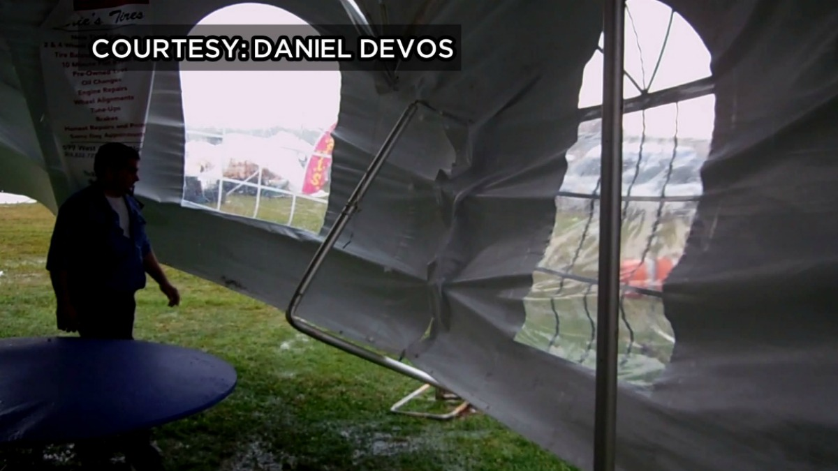 Gusty winds ripped through tents at the Norwalk Oyster Festival on Saturday.