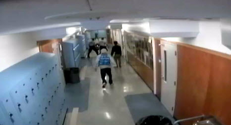 Surveillance footage from a reported attack at Oakland High School. A campus security officer is accused of striking a student and dumping him off his wheelchair.