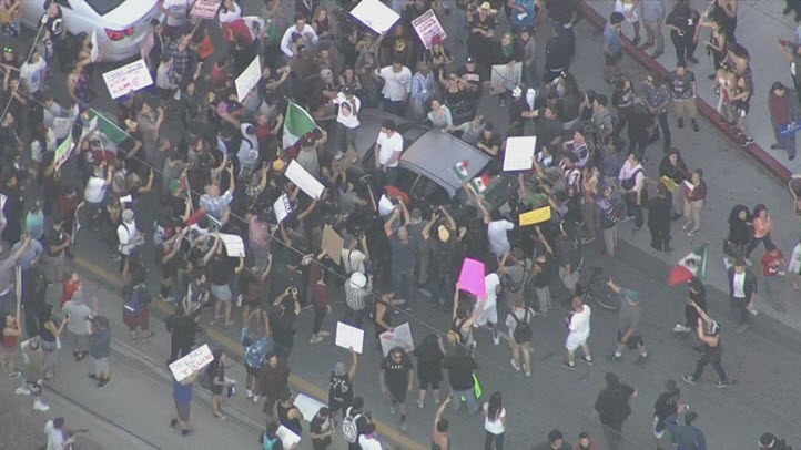 A Donald Trump rally in San Jose draws protesters. (June 2, 2016)