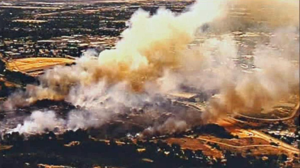 A four-alarm grass fire erupted near Cal Expo in Sacramento on Friday, July 4, 2014.