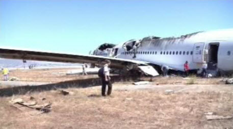 Plane wreckage of Asiana Airlines Flight 214 at SFO.