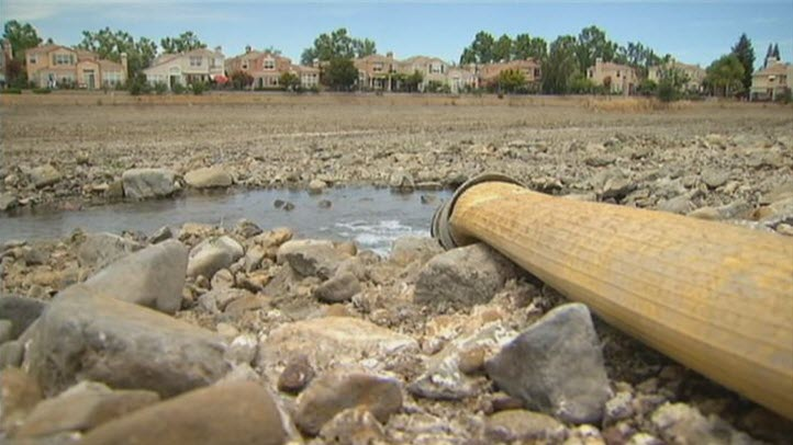 A pond in the South Bay runs dry due to California's severe drought. Californians have found some ingenious ways of coping with the severe water shortage.