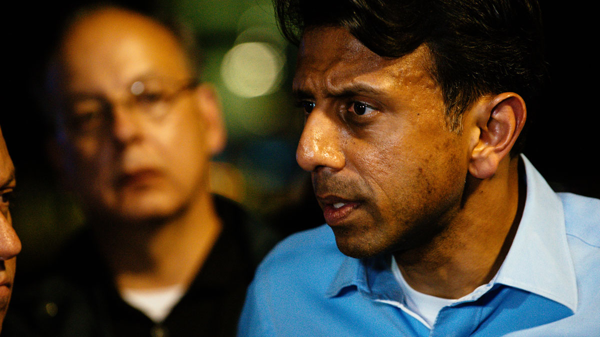 Louisiana Gov. Bobby Jindal speaks with the media following a deadly shooting at the Grand Theatre in Lafayette, La., Thursday, July 23, 2015.