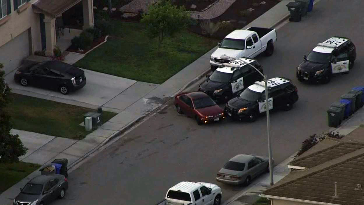 California Highway Patrol officers attempt to box in a pursuit driver Monday Aug. 1, 2016 in Fallbrook.