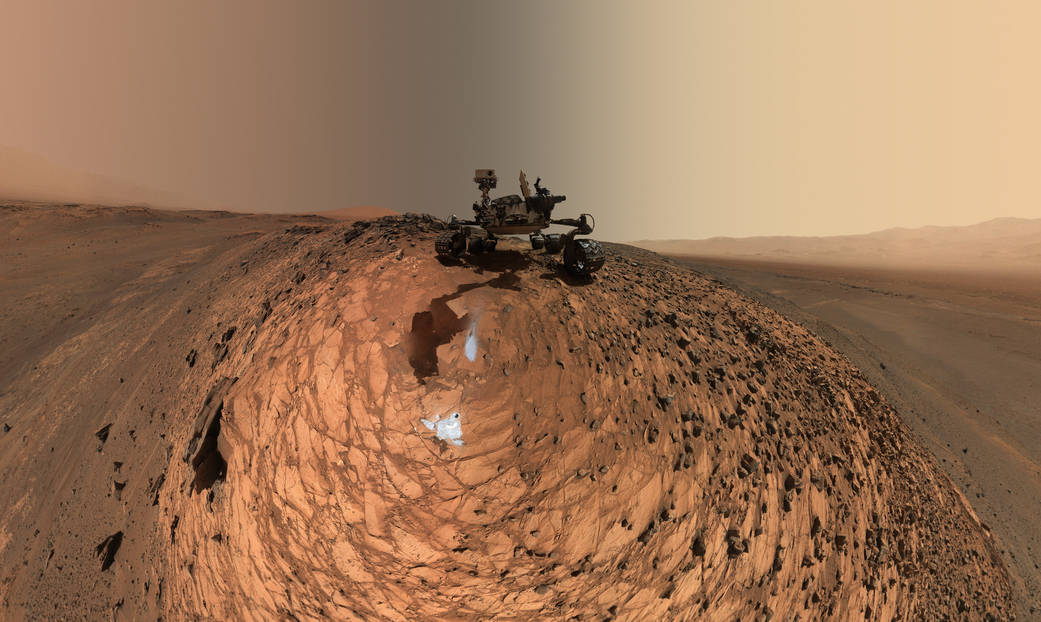 This low-angle self-portrait of NASA's Curiosity Mars rover shows the vehicle above the
