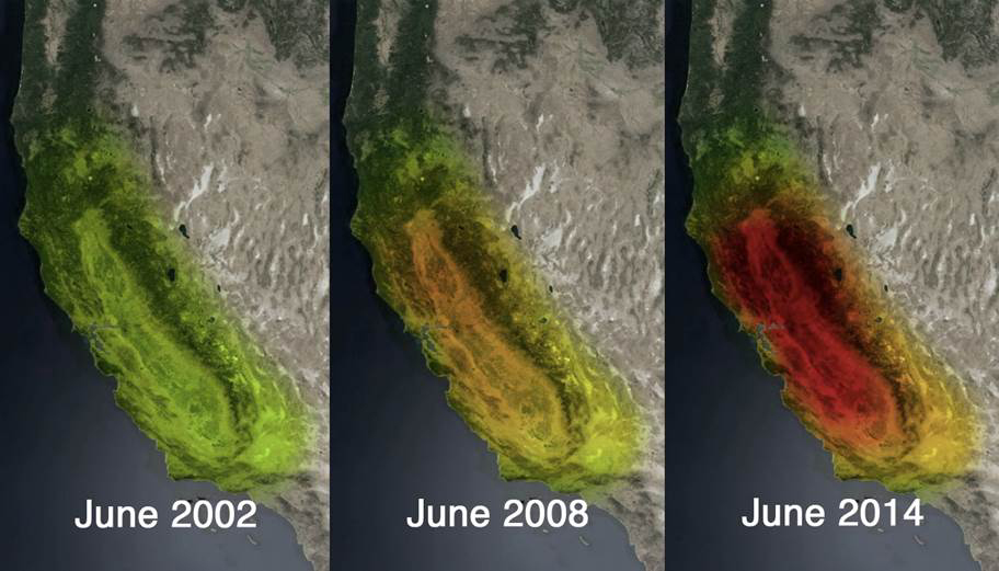 This trio of images depicts satellite observations of declining water storage in California as seen by NASA's Gravity Recovery and Climate Experiment satellites in June 2002 (left), June 2008 (center) and June 2014 (right). Colors progressing from green to orange to red represent greater accumulated water loss between April 2002 and June 2014.