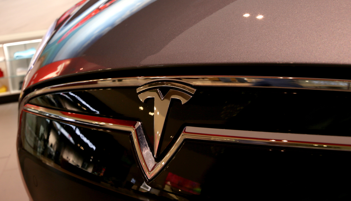 A Tesla Motors vehicle is seen on the showroom floor at the Dadeland Mall on February 19, 2014 in Miami, Florida.