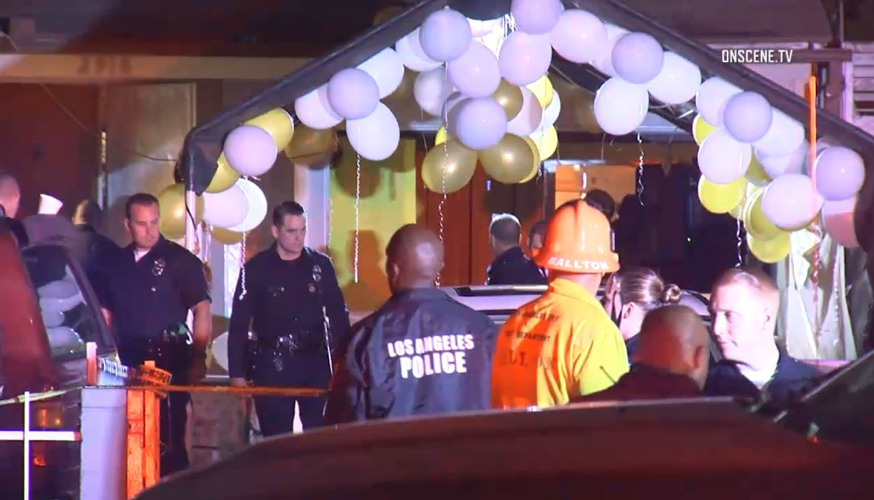 Man people were shot at a house party in West Adams early on Saturday, Oct. 15, 2016.