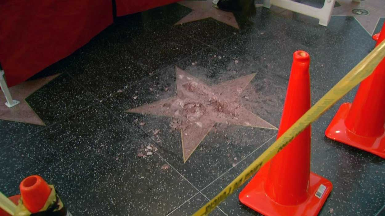 Donald Trump's star on the Hollywood Walk of Fame was in pieces Wednesday Oct. 26, 2016 after it was vandalized by a man with a sledgehammer.