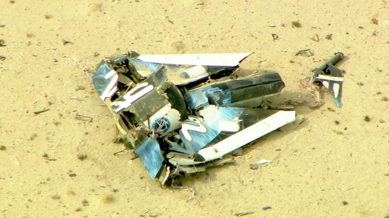 A view of the debris after a crash involving space tourism plane SpaceShipTwo in the Mojave Desert Friday Oct. 31, 2014.