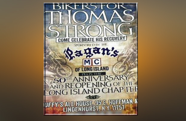 Flier advertising the event sponsored by the Pagans Motorcycle Club on Long Island.