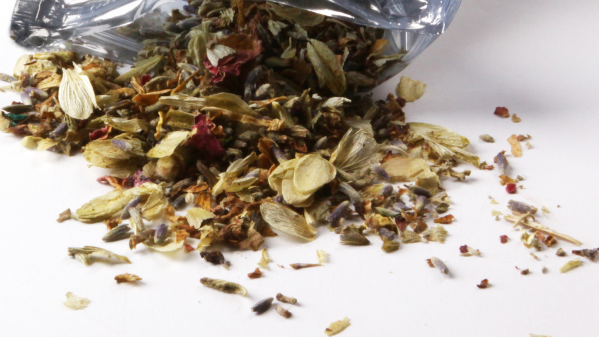 A pouch of dried herbal potpourri being called