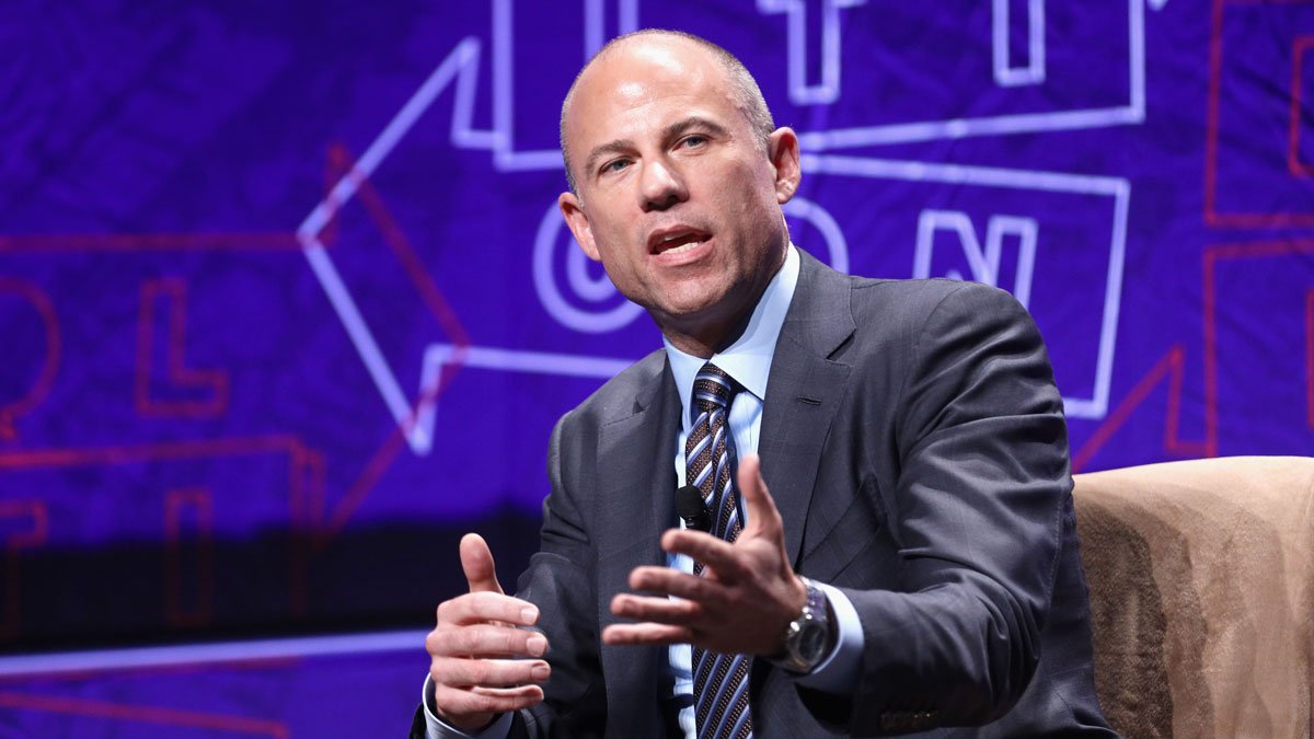 This Oct. 20, 2018, file photo shows Michael Avenatti speak onstage during Politicon 2018 at the Los Angeles Convention Center.