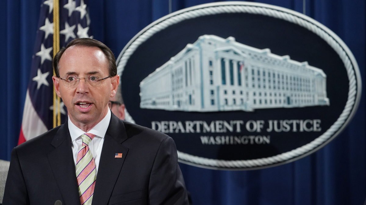 This Nov. 28, 2018, file photo shows Deputy Attorney General Rod Rosenstein at a news conference announcing efforts against computer hacking and extortion at the Department of Justice in Washington, D.C.