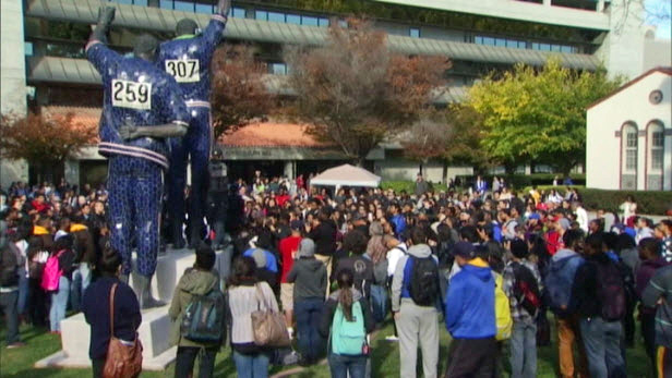 About 200 students marched through the San Jose State campus Thursday, Nov. 21, 2013, to express their anger.