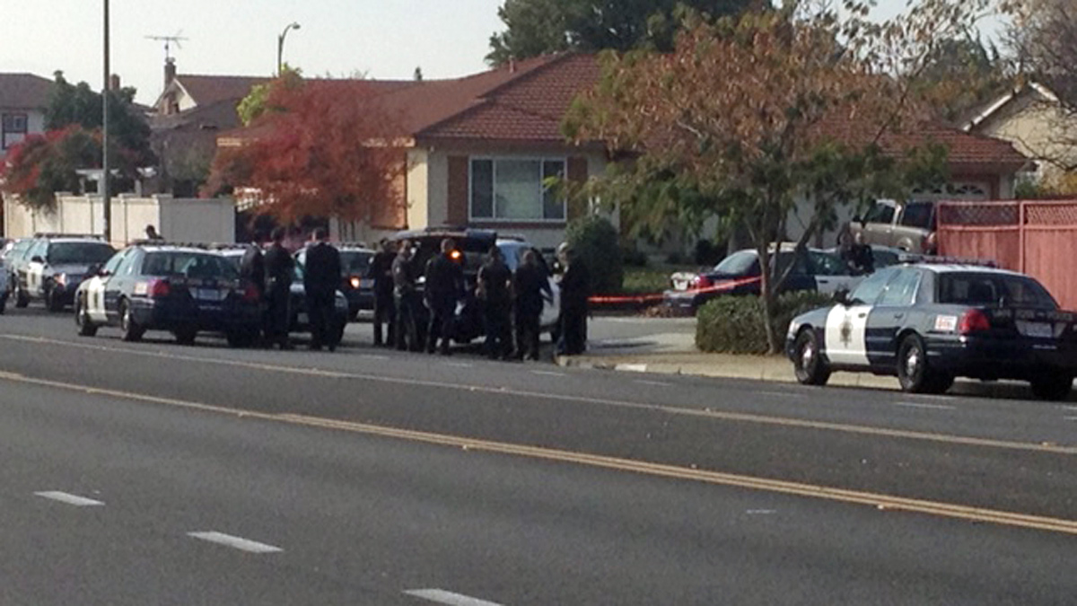 San Jose police on scene near Mabury Road and Kirk Glen Drive in East San Jose on Thursday, Nov. 28, 2013.