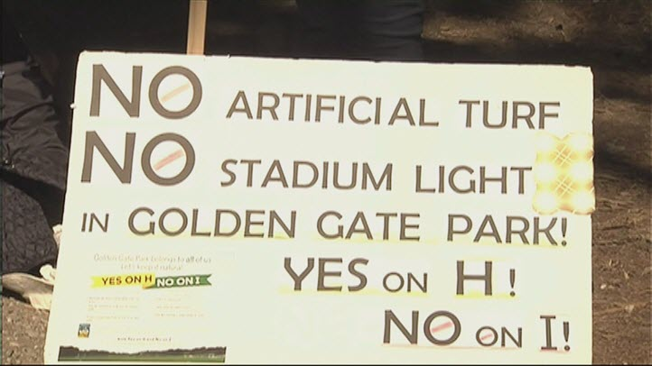 A sign that shows opposition to turf being installed at Golden Gate Park soccer fields.
