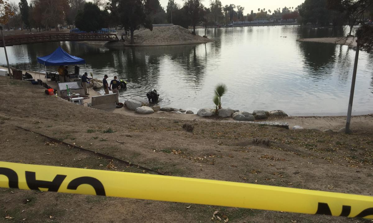 Authorities search a lake Thursday Dec. 10, 2015 near the site of last week's mass shooting in San Bernardino.