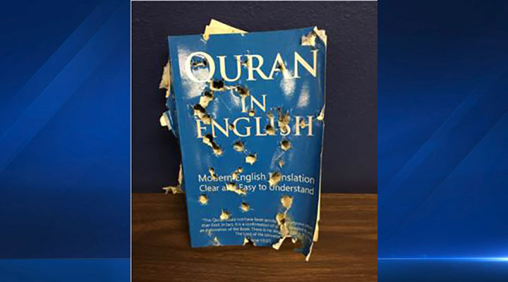 The owner of Al-Farah Islamic Clothing in Anaheim, Calif., found the English translation of the Quran pierced with multiple holes and hanging on the front door of the store on Tuesday, Dec. 1, 2015.