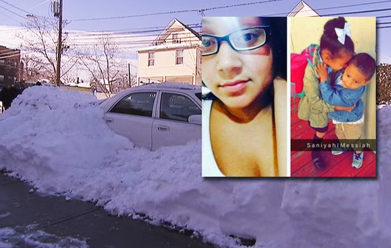 Sasha Bonilla, left insert, and her 1-year-old son Messiah died while waiting inside a running vehicle as the boy's father shoveled outside to dig out the car in Passaic; Saniyah, the couple's daughter is in critical condition.