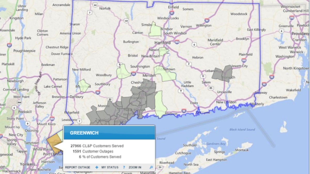 About currently 1,591 Connecticut Light & Power customers are without power in Greenwich on the second day of a blizzard hitting the state.