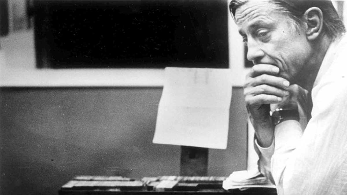 WASHINGTON, DC - AUGUST 8: The Washington Post's Ben Bradlee in the composing room looking at A1 of the first edition, headlined