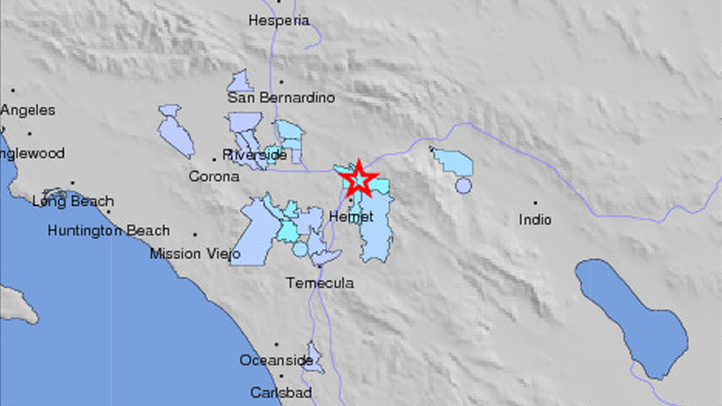 This map by the U.S. Geological Survey shows where an earthquake struck in Riverside County on Tuesday, Sept. 2, 2014.