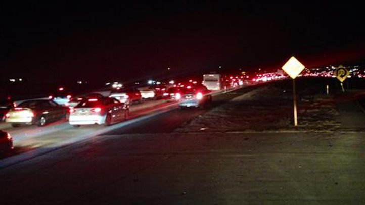 Traffic on the 15 Freeway in the Corona area was at a standstill after a shooting on Saturday, Sept. 20, 2014.